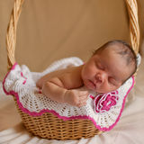 Black newborn baby sleeping in basket. Stock Photos