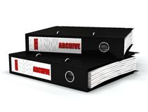 Black news archive. Contained journalistic file in black  ring binders Royalty Free Stock Image