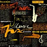 Black newspaper Jazz music. Seamless background pattern. Black newspaper Jazz music. Text is unreadable Royalty Free Stock Photos