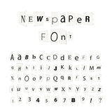 Black newspaper letters font, latin alphabet signs isolated on white Stock Image
