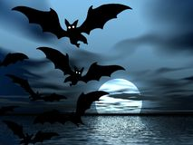 Black night. Moon and bats Royalty Free Stock Photos