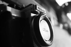 Black Nikon Bridge Camera With Closed Lens Stock Images