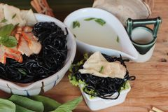 black noodles with pork and dumpling delicious Royalty Free Stock Images