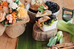 black noodles with pork and dumpling delicious Stock Photos