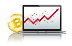 Black Notebook Golden Bitcoin Growing Chart Stock Photo