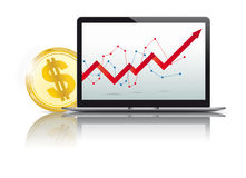 Black Notebook Golden Dollar Coin Growth Chart Royalty Free Stock Photo