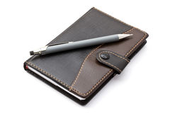 Black notebook and Mechanical pencil Royalty Free Stock Image