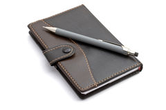 Black notebook and Mechanical pencil Stock Photo