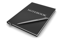 Black notebook with pen Royalty Free Stock Photography