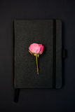 Black notebook with a rose on it. Closed black notebook on a black background with a pink rose on it Stock Photo