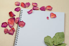 Black notepad. Realistic template notebook. Blank cover design. With dried rose petals and leaf. on cardboard background stock image
