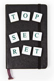 Black notepad with top secret message Royalty Free Stock Image