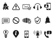 Black notification and information icons set Stock Photos