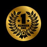Black number one label. On shiny gold background - winner concept icon. Vector illustration Royalty Free Stock Images