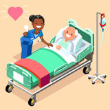 Black Nurse or Family Doctor at Male Patient Bed. 3D flat people emotions in isometric cartoon style medical icon vector illustration Royalty Free Stock Photography