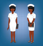 Black Nurse Full Body Poses Cartoon Vector Illustration Royalty Free Stock Image
