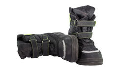 Black nylon childrens winter boots Stock Photos