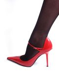 Black nylons and red shoe Royalty Free Stock Images