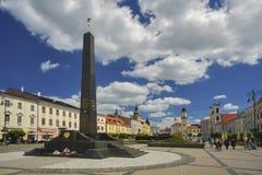 Black obelisk. At Namestie SNP square at Banska Bystrica Royalty Free Stock Photo