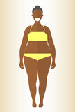 Black obese woman. Flat style illustration. African girl in yellow underwear with excess weight. Vector cartoon character. Royalty Free Stock Photography