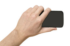 Black object in man's hand white background Royalty Free Stock Image