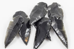 Black Obsidian Arrow heads. Several Black Obsidian Arrow heads stock photo
