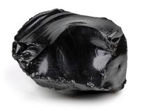 Black obsidian on white background