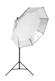 A black octobox in a form of umbrella isolated on a white background. Professional lightning. Photographic equipment. Stock Photos