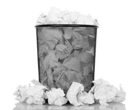 Black office bucket full of paper isolated on white Stock Images
