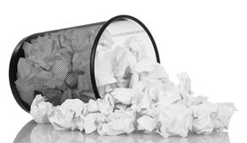 Black office bucket full of paper isolated on white Stock Photos