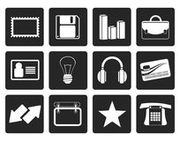 Black Office and business icons. Vector icon set Royalty Free Stock Photography