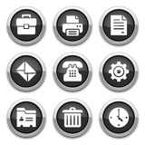 Black office buttons. Black shiny office & business  buttons Stock Photos