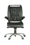 Black office chair. Isolated black leather, wheeled chair Stock Photos