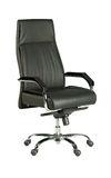 Black office chair. Isolated black leather and wooden arms wheeled chair Stock Photos