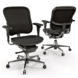 Black office chair isolated on white 3D Illustration Stock Photography
