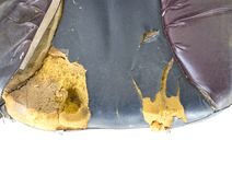 Black Office chair old damage leather and dirty Royalty Free Stock Photography
