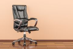Black office chair in room on the wooden floor, 3D rendering. Black office chair in room on the wooden floor, 3D Royalty Free Stock Image