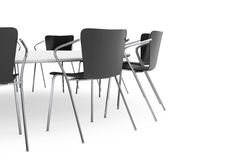 Black Office Chairs and Conference Round Table Stock Images
