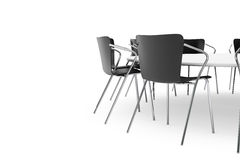 Black Office Chairs and Conference Round Table Royalty Free Stock Photos