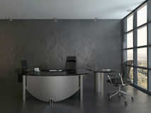 Black office room interior with modern desk Stock Photography