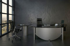 Black office room interior with modern desk Stock Photos