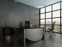 Black office room interior with modern desk Royalty Free Stock Image