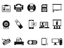 Black office technology icons set Stock Photos