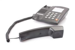 Black office telephone Stock Images
