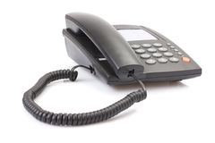 Black office telephone Royalty Free Stock Image
