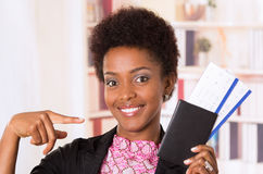 Black office woman tickets Royalty Free Stock Image