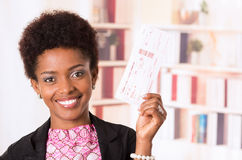 Black office woman tickets Stock Photography