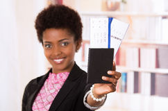Black office woman tickets and passport Royalty Free Stock Photography