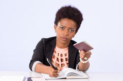 Black office woman working Stock Photos