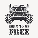 Black Offroad vehicle with splashes of mud. Offroad vehicle in black color with with very big wheels. Monochrome illustration in a grunge style (splashes of mud Stock Photos